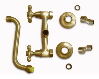 rubinetto a muro rustico in ottone spazzolato per acqua calda e fredda, cod. 03RMRCF, parti componenti