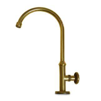 rubinetto curvo antico in ottone, cod. 03RCA