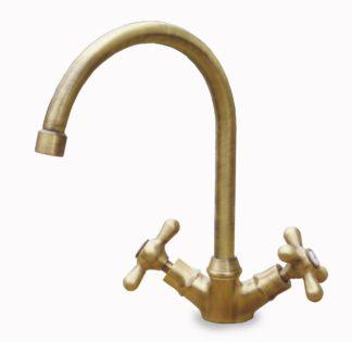 rubinetto curvo rustico in ottone spazzolato per acqua calda e fredda, cod. 03RCRCF