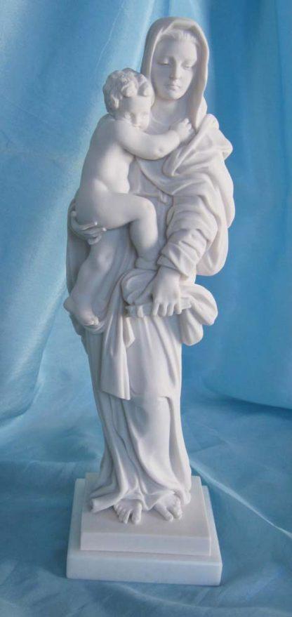 statua della Madonna con Gesù bambino in marmoresina, di altezza 25 cm, cod. 25MGB25MR