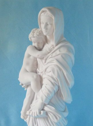 statua della Madonna con Gesù bambino in marmoresina, di altezza 43 cm, cod. 25MGB40MR, dettaglio