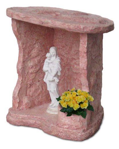 nicchia a scaglie per Madonna, in finta roccia alleggerita, col. rosa antico, cod. 14NSCRA