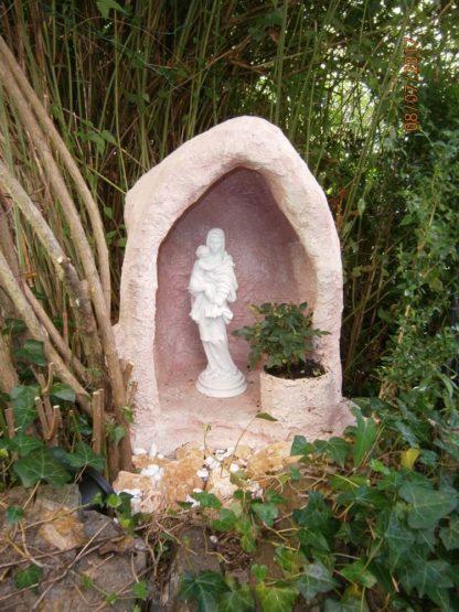 nicchia con vasetto (vecchia versione) e Madonna con Bambino, col. rosa antico, località: Torriglia (Genova)