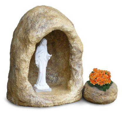 grotta in finta roccia con vasetto, per statua di altezza 40 cm circa, col. old stone, cod. 14NV40OS
