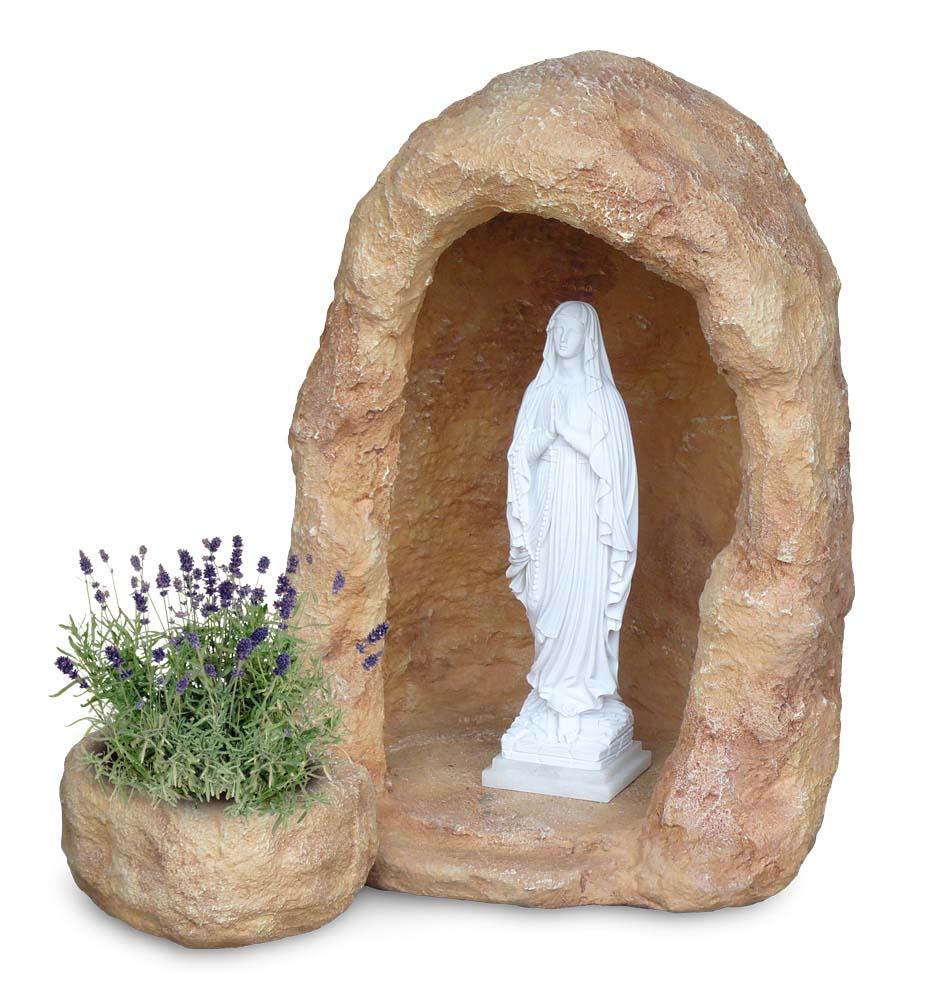 Grotta per madonna in finta roccia con vasetto per - Statue da giardino in resina ...