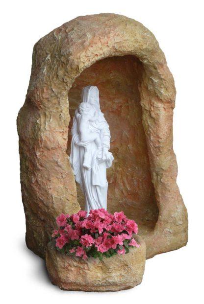 grotta in finta roccia con vasetto, per statua di altezza 70 cm circa, col. pietre del borgo, cod. 14NV70P