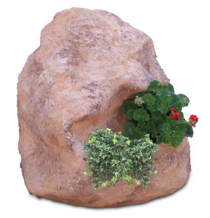 roccia decorativa alleggerita con spazio per fiori, vista frontale