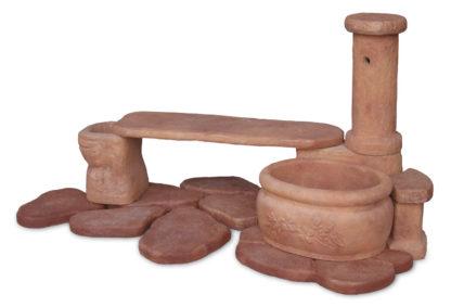 fontana azalea con panchina col. mattone, cod. 03FAZPM