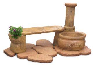 fontana azalea con panchina col. old stone, cod. 03FAZPOS
