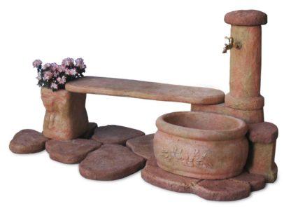 fontana azalea con panchina col. pietre del borgo, cod. 03FAZPP