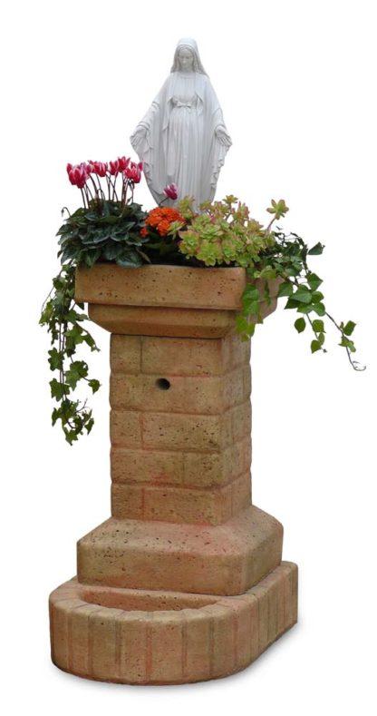 fontana fiorita con Madonna col. pietre del borgo, cod. 03FFMP