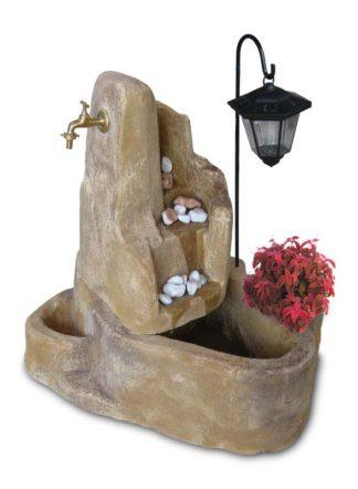 fontana Piave con gioco d'acqua e lanterna col. old stone, cod. 13FPILOS