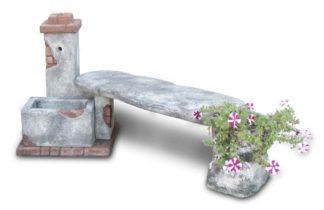 fontana fonte del casale con panchina col. antichizzato, cod. 03FDCPAT