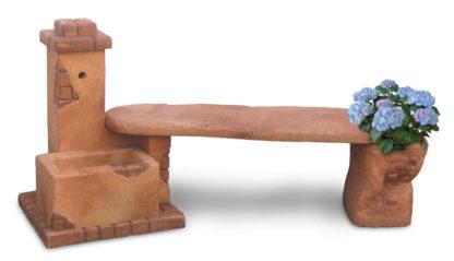 fontana fonte del casale con panchina col. mattone, cod. 03FDCPM