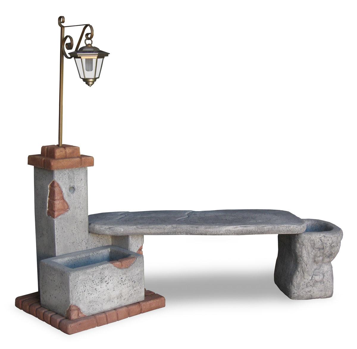 Fonte del casale con panchina e lanterna r c di rinaldi for Prodotti da giardino