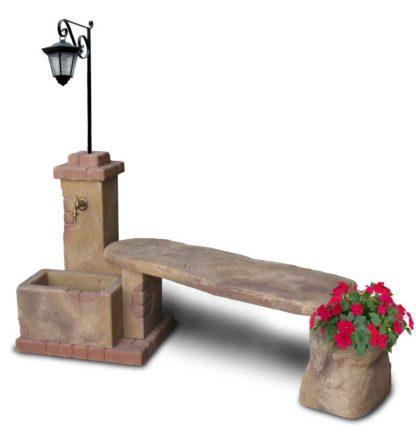 fontana fonte del casale con panchina e lanterna col. old stone, cod. 03FDCPLOS