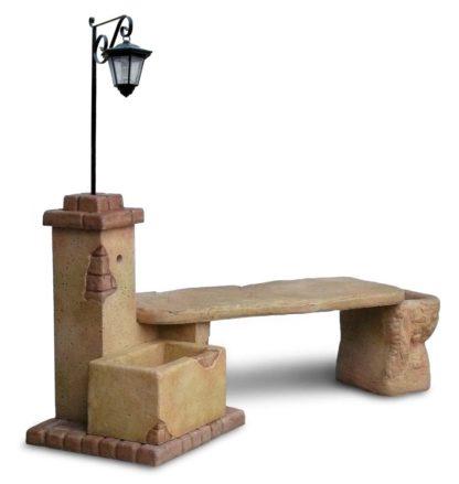 fontana fonte del casale con panchina e lanterna col. pietre del borgo, cod. 03FDCPLP