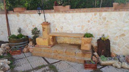 fontana fonte del casale con panchina e lanterna col. pietre del borgo, cod. 03FDCPLP, località: Castel di Lama (Ascoli Piceno)