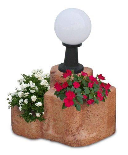 lampada da giardino con base media in finta roccia col. mattone, cod. 11PLMML