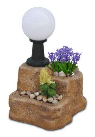 lampada da giardino con base media in finta roccia col. old stone, cod. 11PLMOSL
