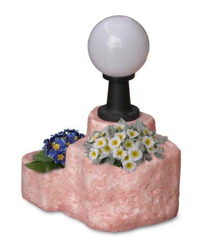 lampada da giardino con base media in finta roccia col. rosa antico, cod. 11PLMRAL