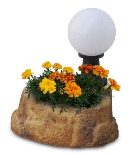 lampada da giardino con base piccola in finta roccia col. old stone, cod. 11PLPOSL
