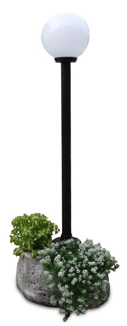 lampione da giardino con base grande in finta roccia col. antichizzato, cod. 11PLGATL