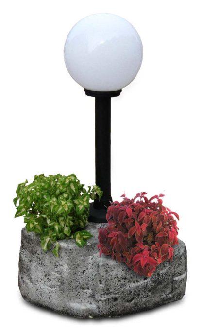 lampione da giardino con base grande in finta roccia col. antichizzato, cod. 11PLGATL, con palo ridotto a 50 cm