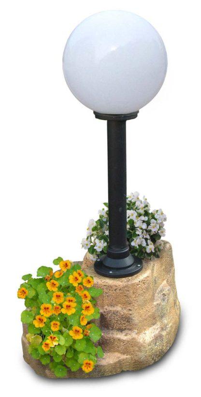lampione da giardino con base grande in finta roccia col. old stone, cod. 11PLGOSL, con palo ridotto a 50 cm