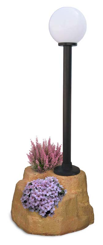 lampione da giardino con base grande in finta roccia col. pietre del borgo, cod. 11PLGPL