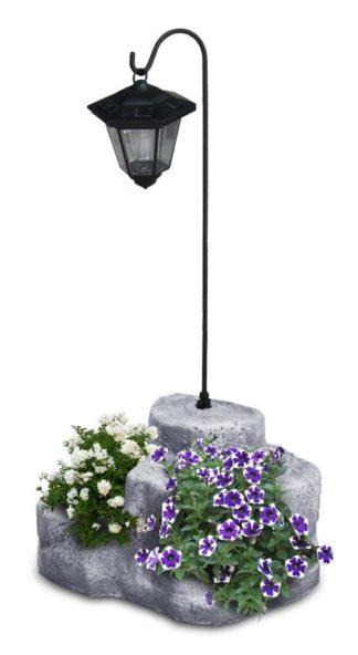 lanterna solare da giardino con base media in finta roccia col. antichizzato, 11PLMATLS
