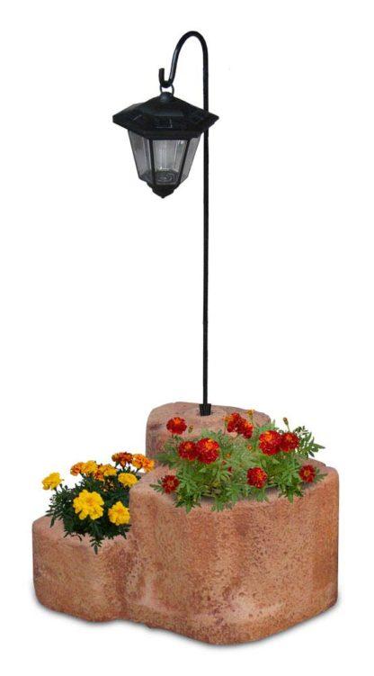 lanterna solare da giardino con base media in finta roccia col. mattone, 11PLMMLS