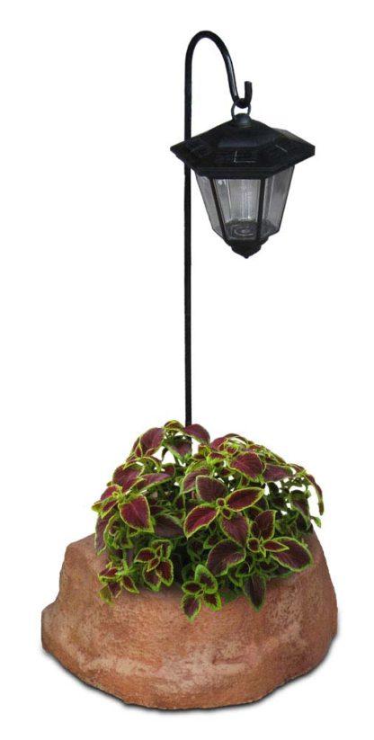 lanterna solare da giardino con base piccola in finta roccia col. mattone, cod. 11PLPMLS