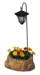lanterna solare da giardino con base piccola in finta roccia col. old stone, cod. 11PLPOSLS