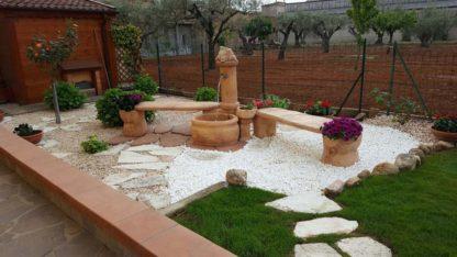 fontana da giardino azalea con seconda panchina col. mattone, cod. panchina 04PRM, località: Cosenza
