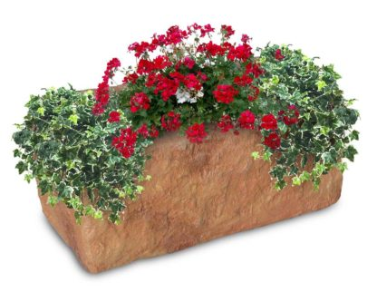 fioriera Pusteria in finta pietra col. mattone, cod. 01FPUM