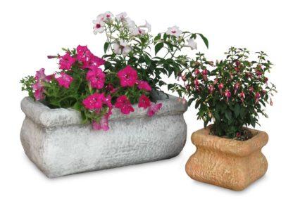 Vaso rettangolare con bordo col. antichizzato e vaso quadrato con bordo col. pietre del borgo