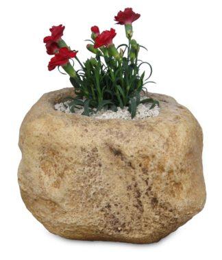 Vaso scolpito con 1 spazio per fiori col. old stone